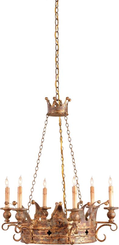 Currey and Company 9547 Crown Chandelier with Customizable Shades