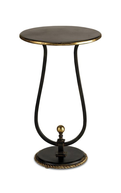 "Currey and Company 4074 Kendrick 15""D Table Old Iron/ Gold Leaf"