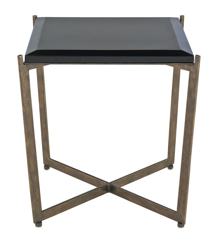 Currey and Company 4193 Galbi Wrought Iron Accent Table with Concrete