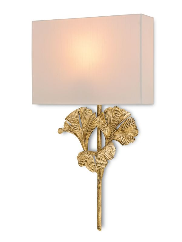 Currey and Company 5178 Gingko 1 Light Wall Sconce with Off White