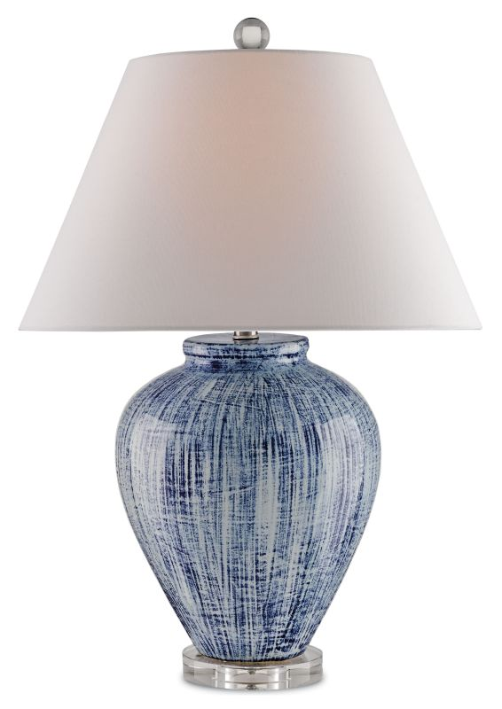 Currey and Company 6224 Malaprop 1 Light Table Lamp with White Linen