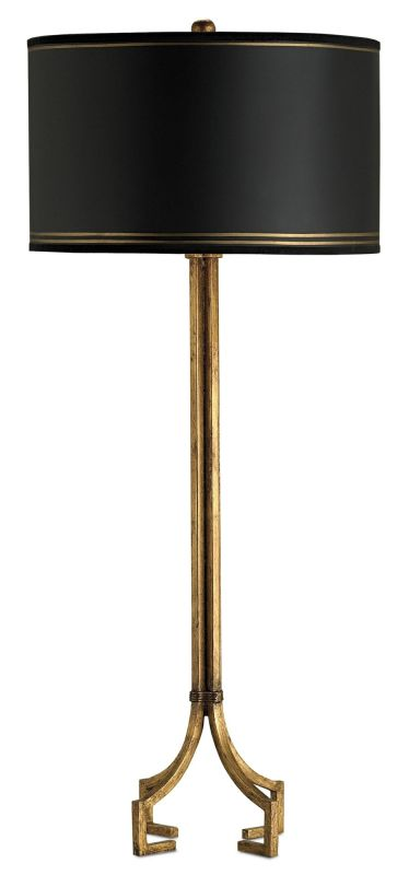 Currey and Company 6471 Artisan Table Lamp with Black Parchment Shades