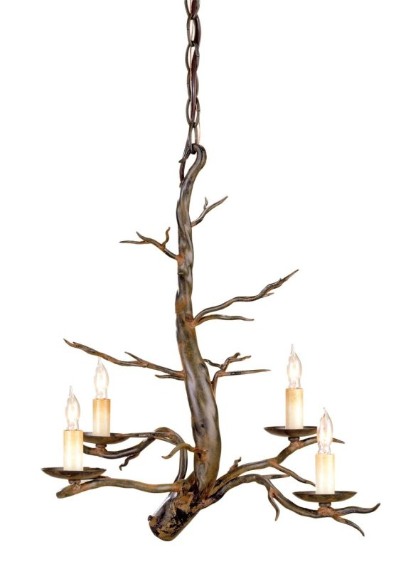 Currey and Company 9307 Treetop 4 Light Single Tier Chandelier Old