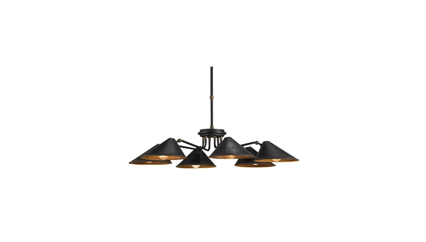 Currey and Company 9308 Black Smith Industrial Fainlight Chandelier