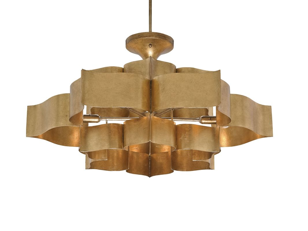 Currey and Company 9494 Grand Lotus 6 Light Large Pendant Antique Gold