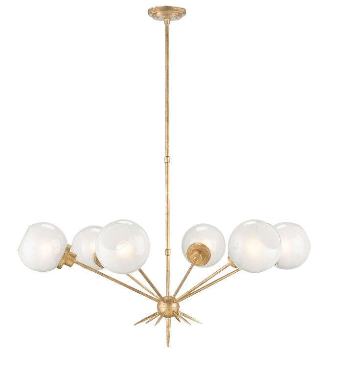 Currey and Company 9515 Shelly 6 Light Chandelier Washed Gold Leaf