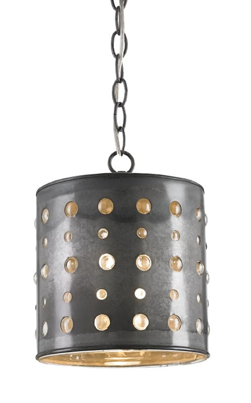 Currey and Company 9698 Charney 1 Light Iron Pendant Antique Tin
