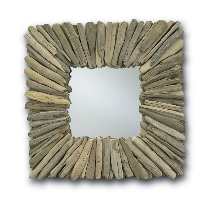 "Currey and Company 1030 Beachhead 21"" Square Mirror Natural Driftwood"