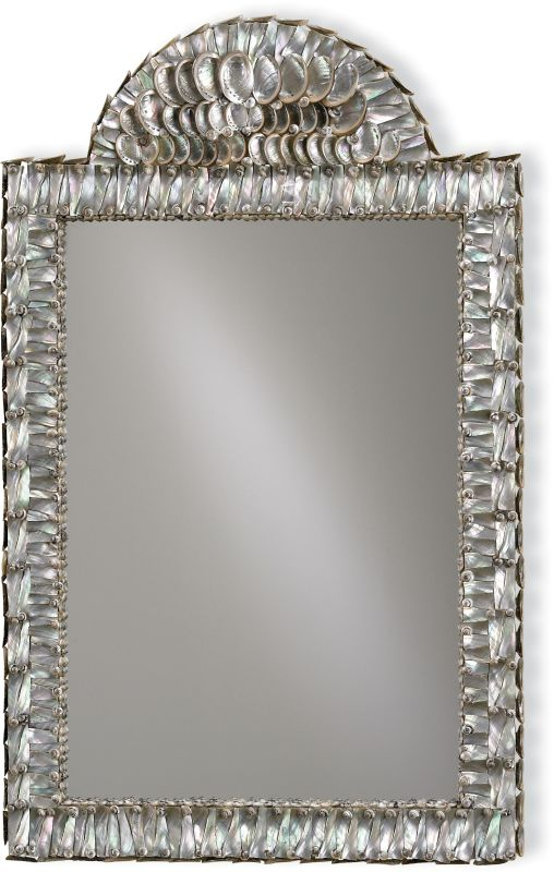 "Currey and Company 1325 Abalone 34""H Rectangular Mirror from the Hayes"