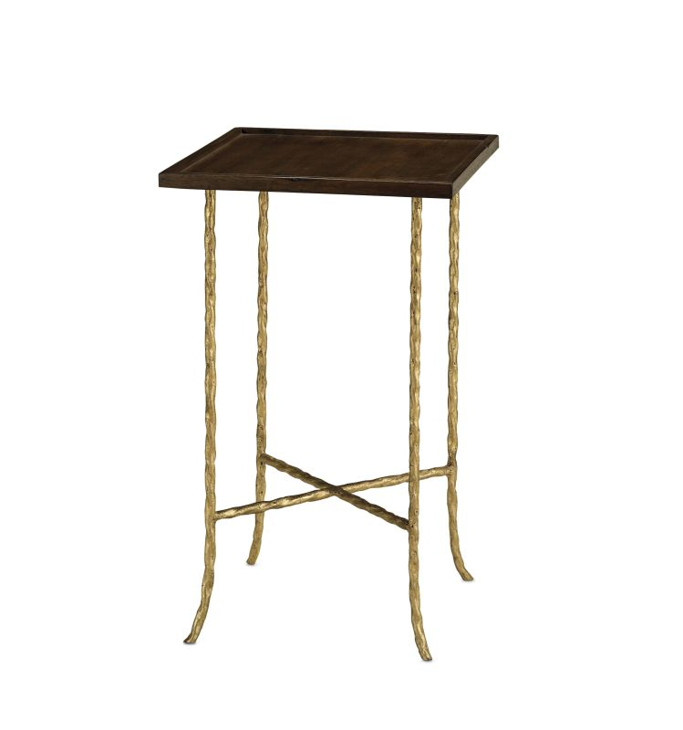 """Currey and Company 4054 Gilt Twist 14"""" Square Table with Wood Top Gilt"""