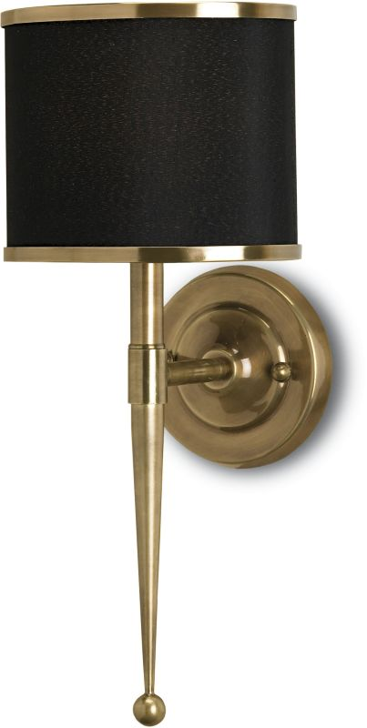 """Currey and Company 5021 Primo 19""""H 1 Light Wall Sconce with Black and"""