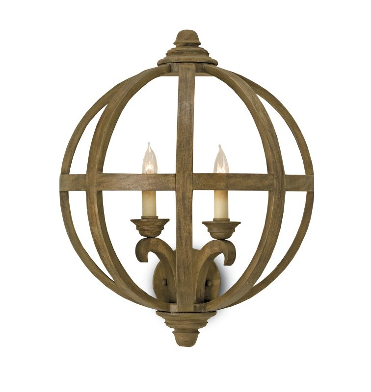 Currey And Company Orb Chandelier: Currey And Company 5095 Chestnut Axel 2 Light Wall Sconce