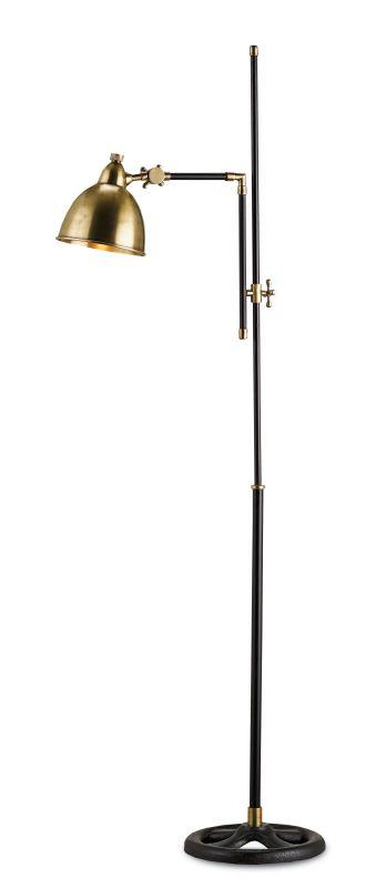 Currey and Company 8051 Drayton 1 Light Floor Lamp Vintage Brass /