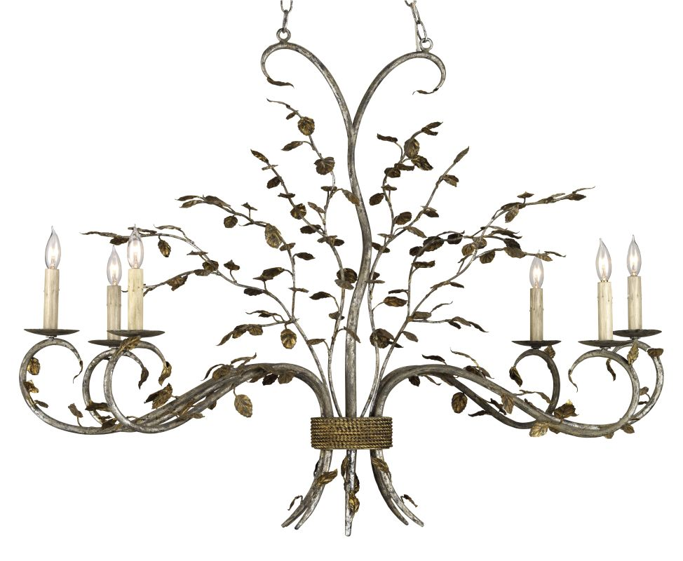 "Currey and Company 9021 Raintree 33""H 6 Light Oval Chandelier with"