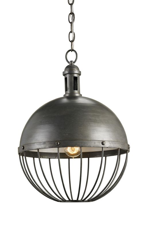 Currey and Company 9886 Hiroshi Gray Industrial Verne Pendant