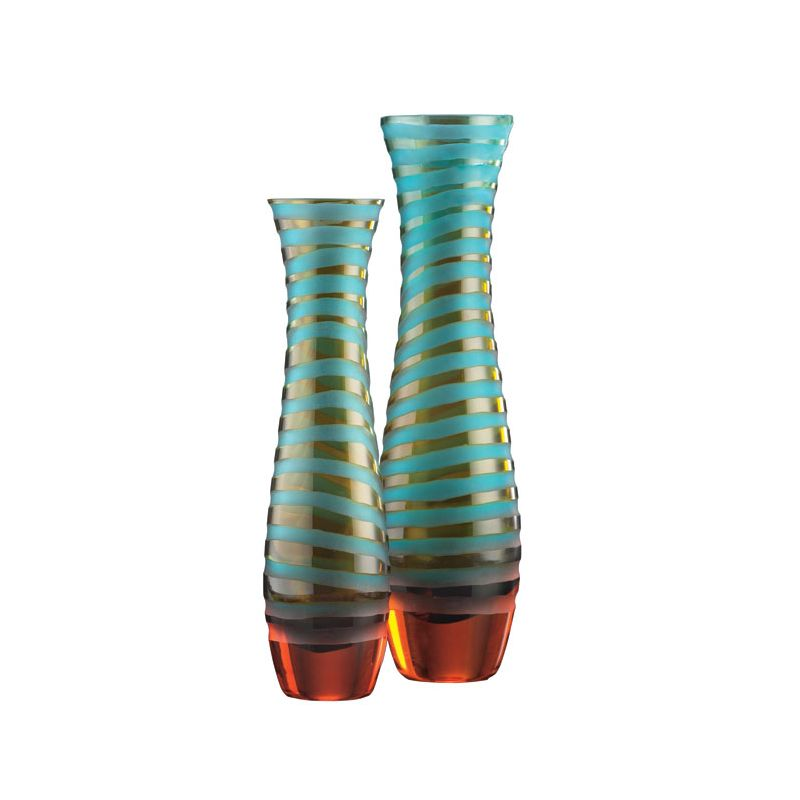"Cyan Design 00074 12"" Medium Striped Vase Cyan Blue and Orange Home"