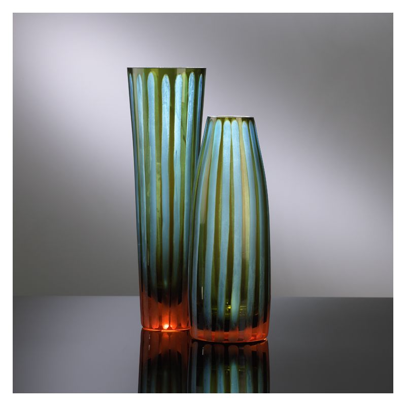 "Cyan Design 01128 11.5"" Large Cyan And Orange Striped Vase Cyan Blue"