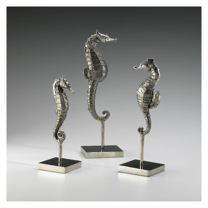"""Cyan Design 01865 12.75"""" Seahorses On Stand Chrome Home Decor Statues"""