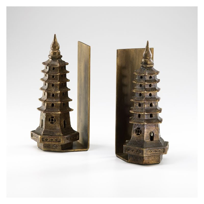 """Cyan Design 02270 10"""" Pagoda Bookends Gold Leaf Home Decor Bookends"""