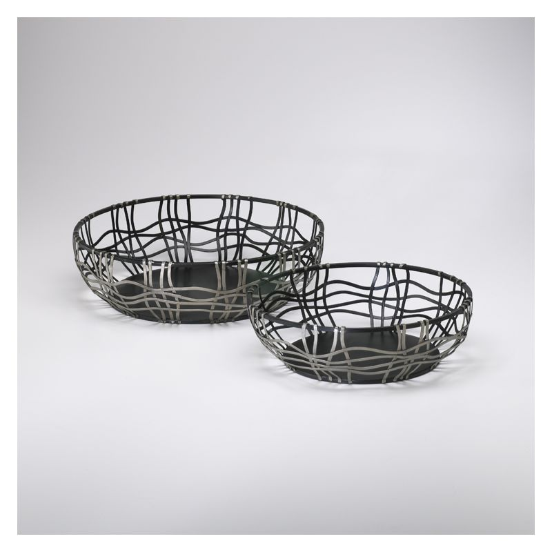 "Cyan Design 02446 5"" Suzanne Baskets Silver and Bronze Home Decor"