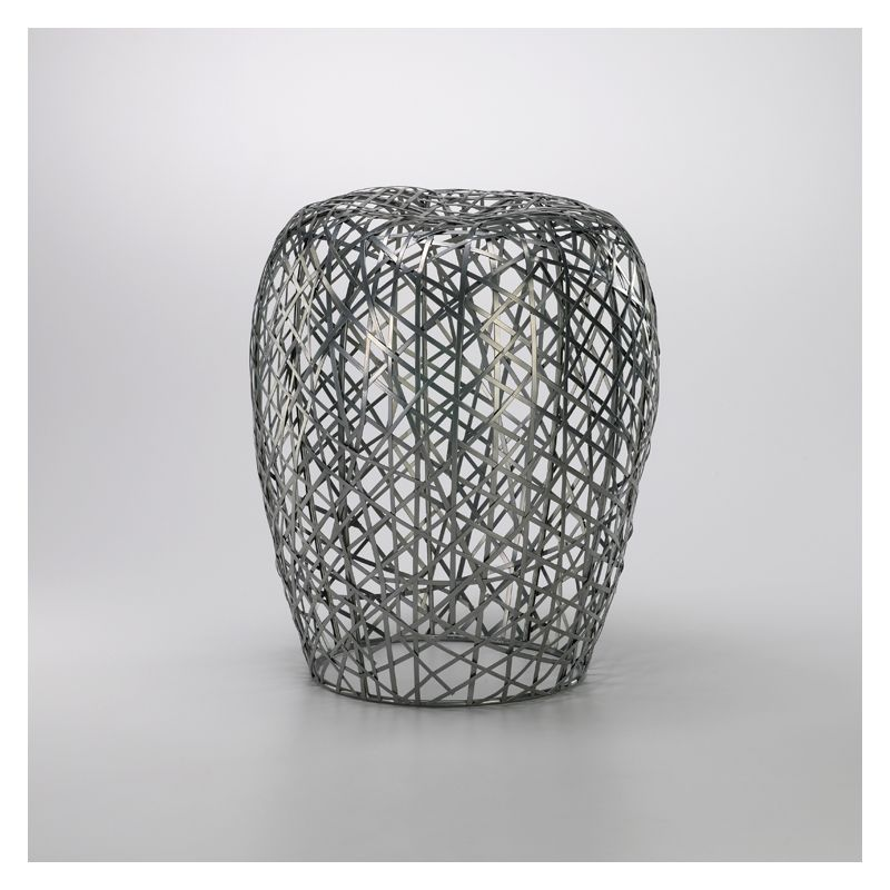 "Cyan Design 02448 18.5"" Open Grid Stool Silver Furniture Stools"