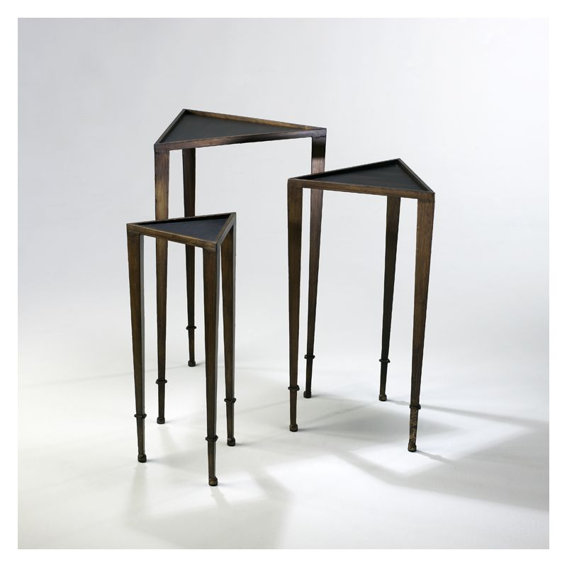 "Cyan Design 02731 29.75"" Triangle Nesting Tables Ebony and Mahogany"