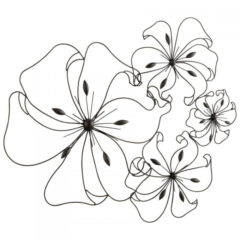 "Cyan Design 05832 32.5"" Fancy Flower Metal Wall Art Graphite Home"