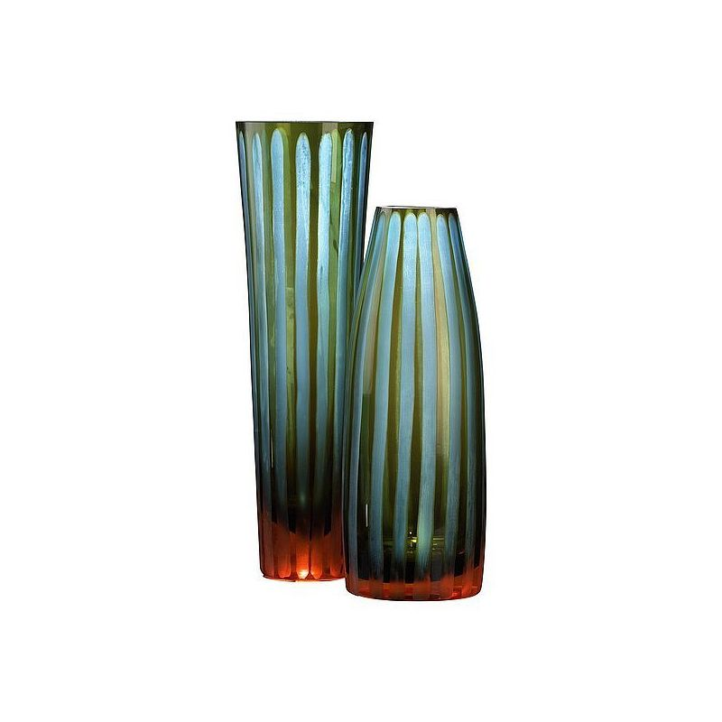 "Cyan Design 01129 10.5"" Small Cyan And Orange Striped Vase Cyan Blue"