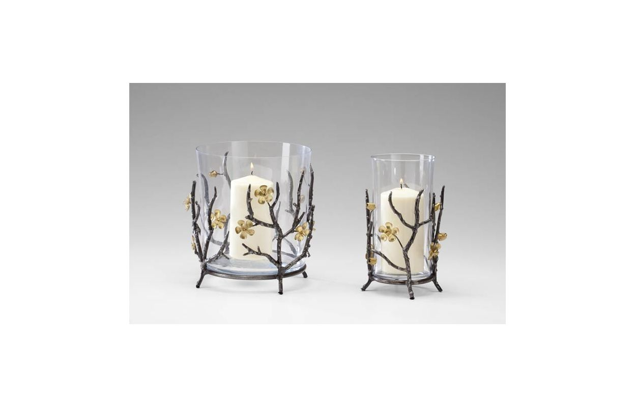 """Cyan Design 04355 9"""" Large Candle Holder Raw Steel / Gold Home Decor"""