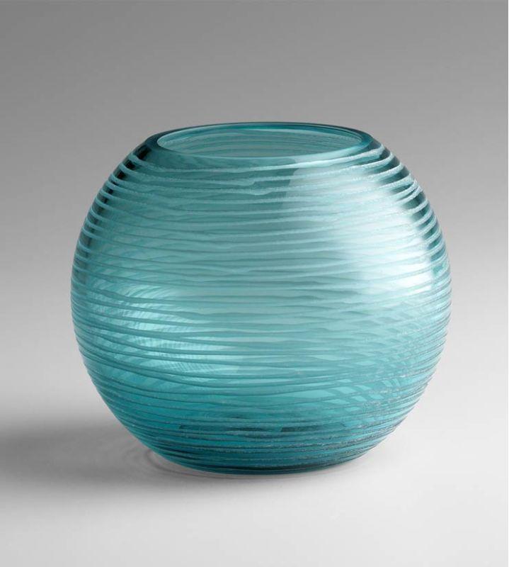 "Cyan Design 04360 5"" Small Round Libra Vase Aqua Home Decor Vases"
