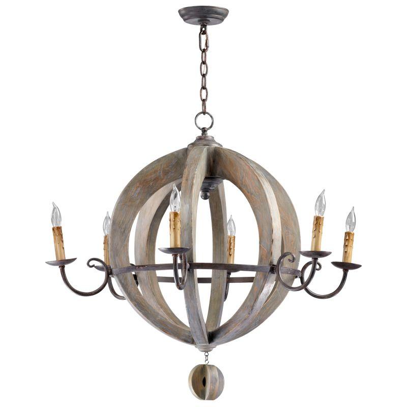 Cyan Design 04703 Barrel 6 Light 1 Tier Chandelier Stained Wood Indoor