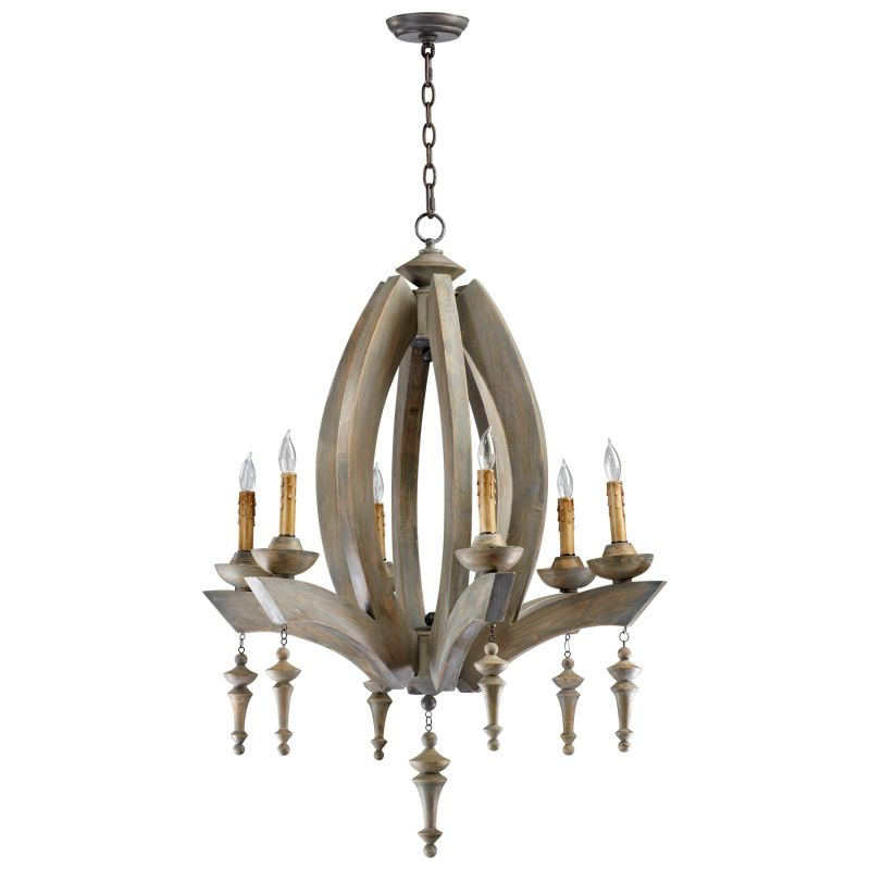 Cyan Design 04704 Manning 6 Light 1 Tier Chandelier Stained Wood