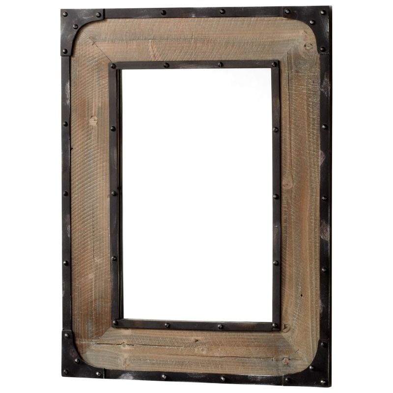Cyan Design 04861 Adler Rectangular Mirror Raw Iron and Natural Wood
