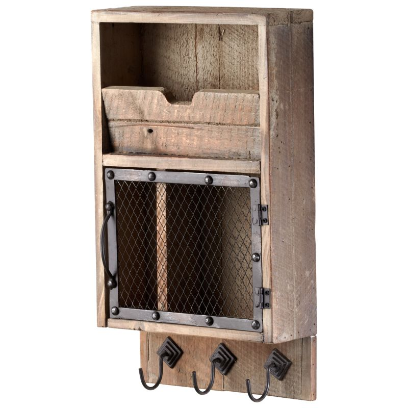 Cyan Design 04880 Casey Wall Organizer Raw Iron and Natural Wood Home