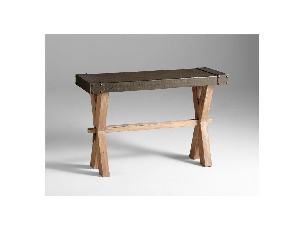 Cyan Design 04955 Mesa Console Bench Raw Iron / Natural Wood Furniture