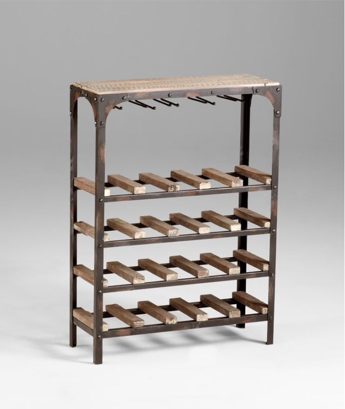 """Cyan Design 04978 34"""" Gallatin Wine Rack Wine Rack Raw Iron / Natural"""