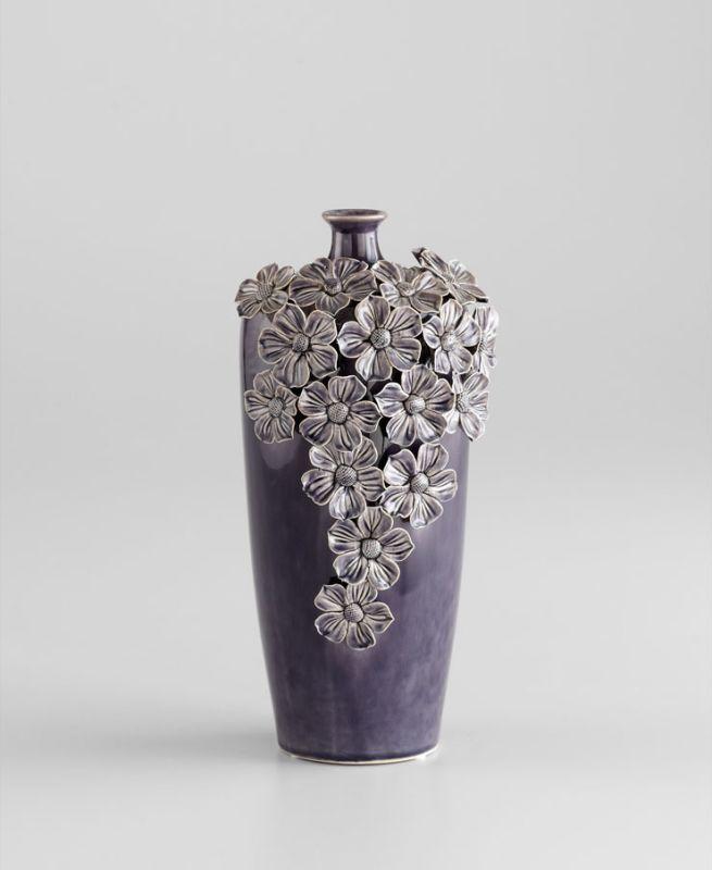 "Cyan Design 05144 12"" Small Daisy Vase Black Gloss Glaze Home Decor"