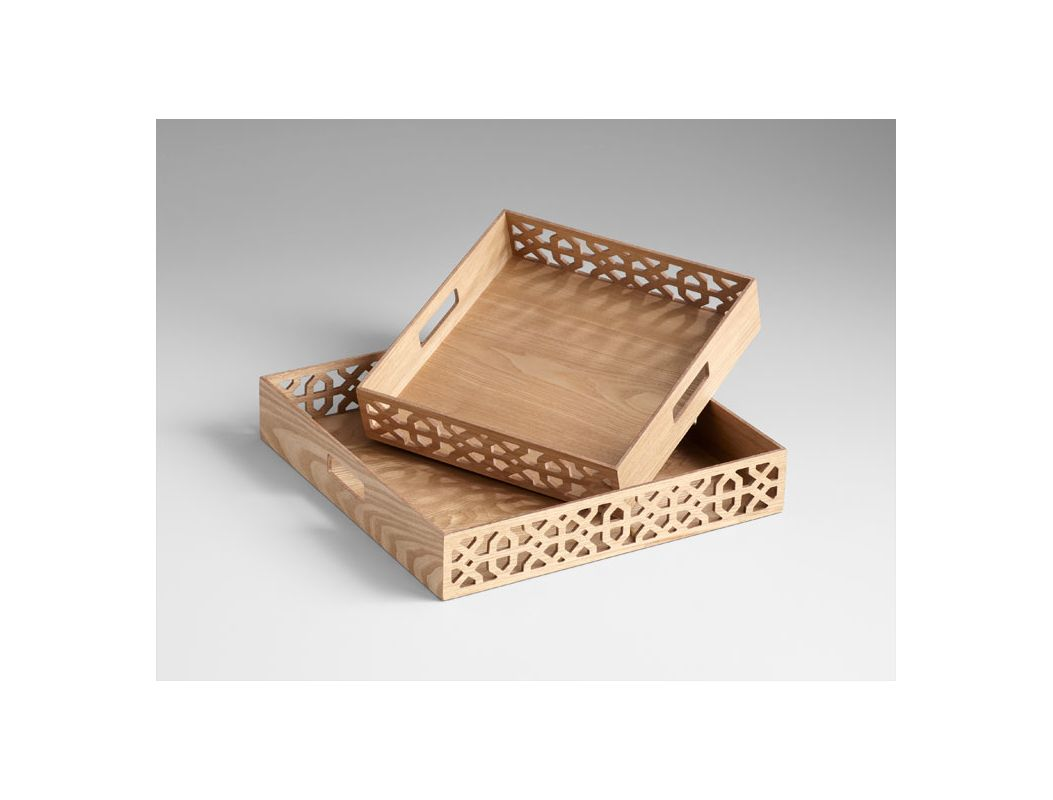 "Cyan Design 05224 17.75"" Square Xoxo Trays Ash Veneer Home Decor"