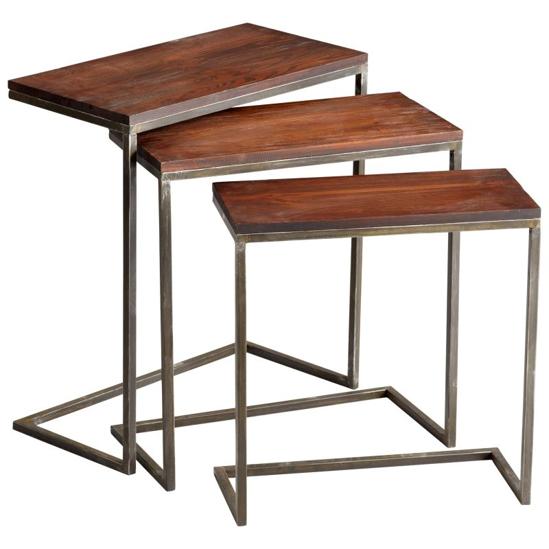 Cyan Design 05232 Jules Nesting Tables Walnut and Graphite Furniture