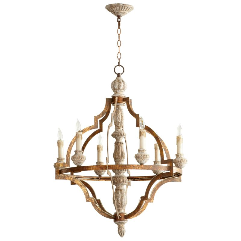 Cyan Design 05256 Bastille 6 Light 1 Tier Chandelier Sawyers White