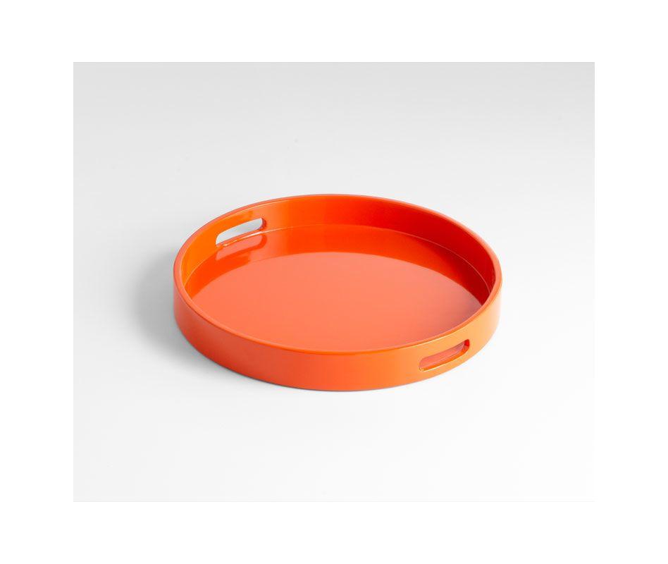 Cyan Design 05504 Small Estelle Tray Orange Lacquer Home Decor
