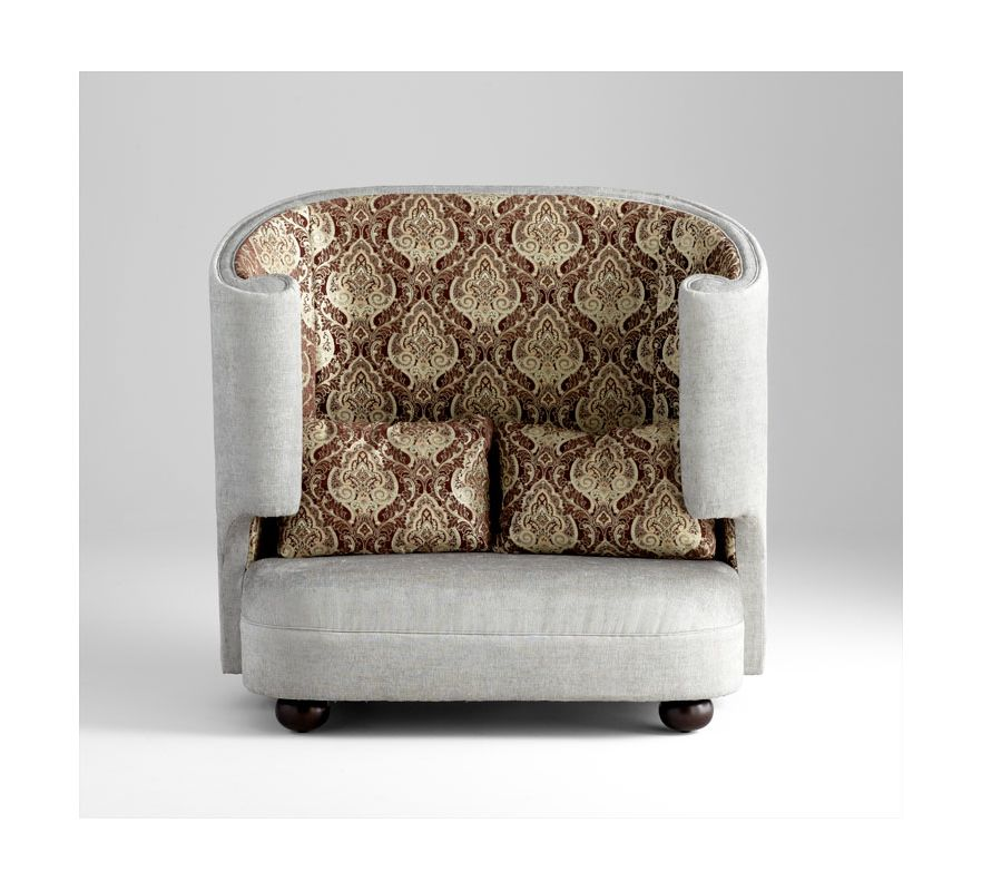 Cyan Design 05556 Tunnel Of Love Chair Grey / Patterned Fabric
