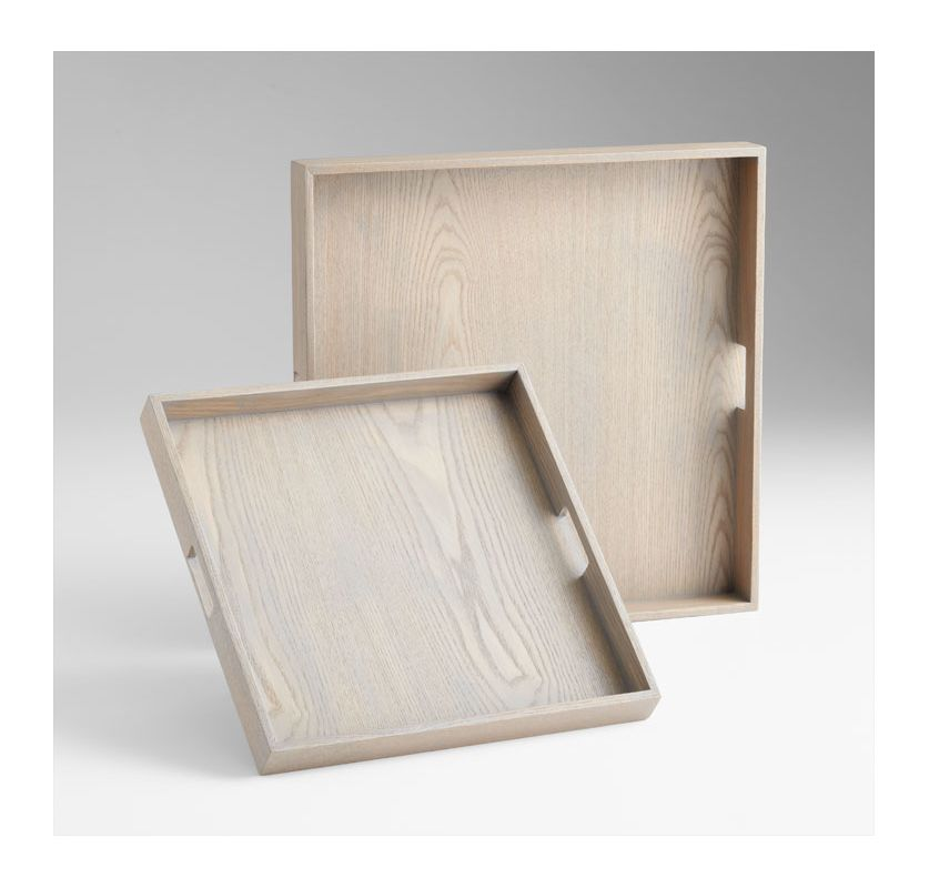 "Cyan Design 05736 19.75"" Caffin Trays Grey Veneer Home Decor"