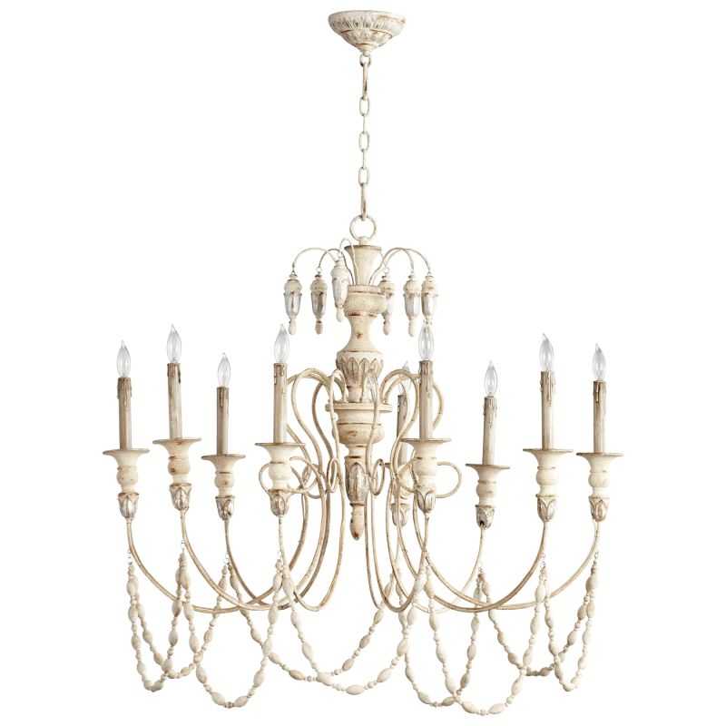 Cyan Design 05784 Florine 9 Light 1 Tier Chandelier Persian White and