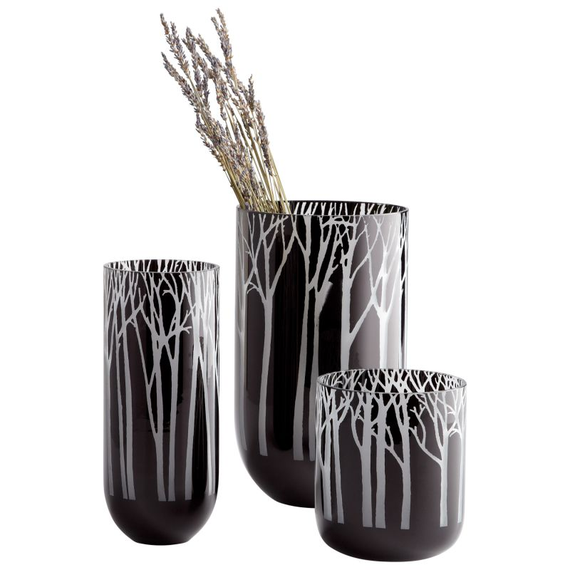 "Cyan Design 06001 6.25"" Small Obsidian Forest Vase Black Home Decor"