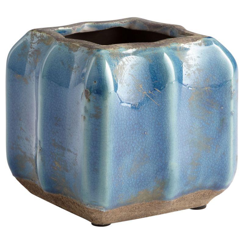 """Cyan Design 08747 Redondo 5"""" Tall Terra Cotta Planter Blue Glaze Home"""