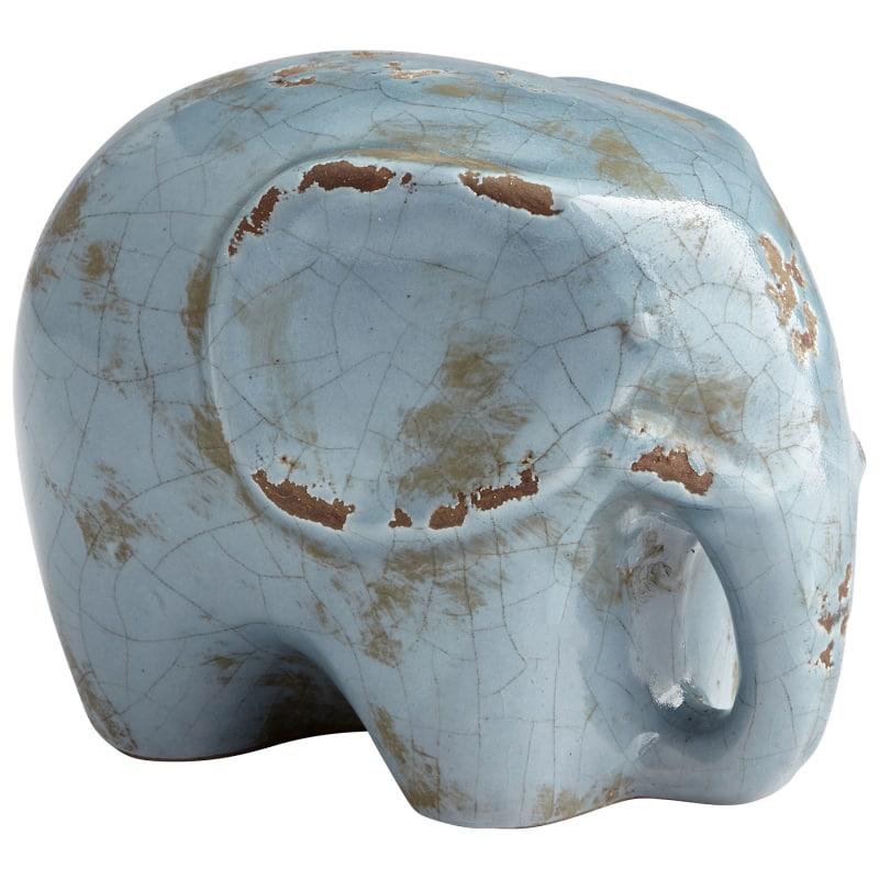 "Cyan Design 08766 Stampy 5"" Tall Terra Cotta Elephant Figurine Blue"