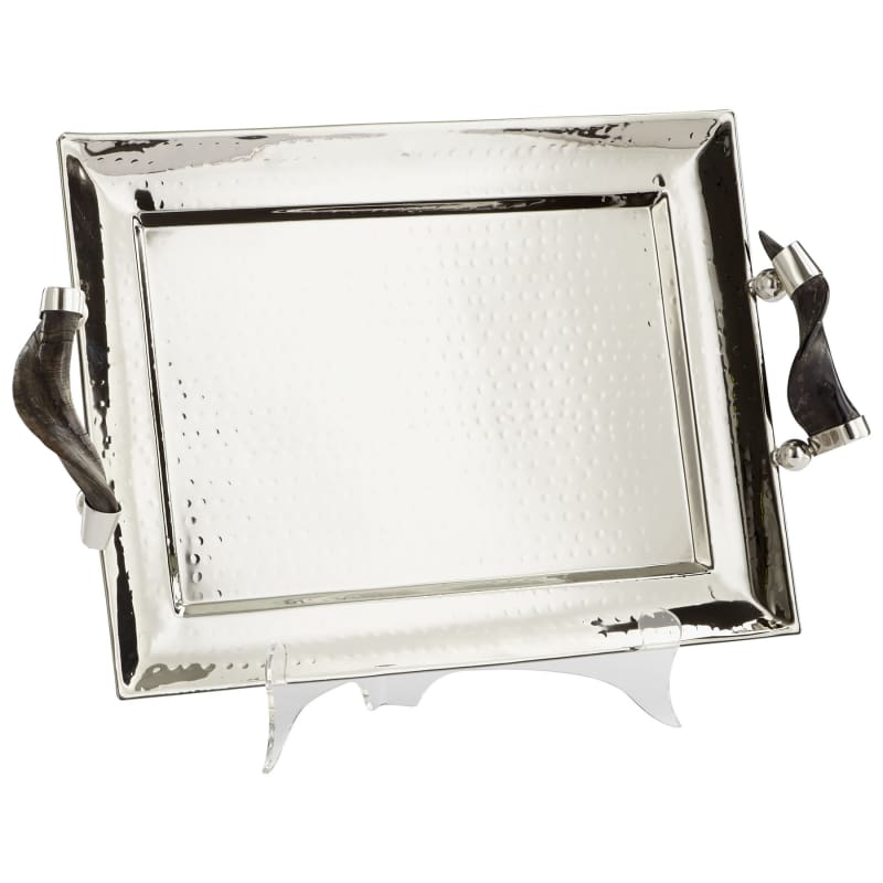 """Cyan Design 08858 12"""" Tall Hammered Finish Decorative Tray Stainless"""