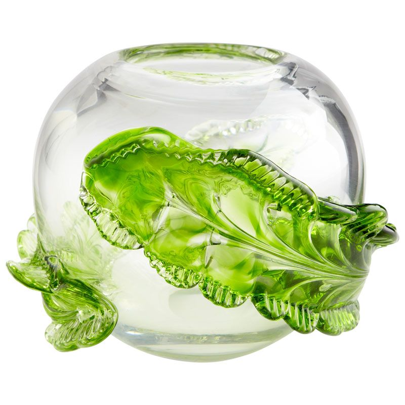 Cyan Design Small Leaf Vase Leaf 5.5 Inch Tall Glass Vase Green Home