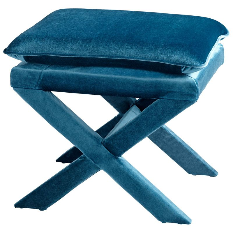 Cyan Design Otto Stool Otto 19.5 Inch Tall Wood and Foam Stool Blue